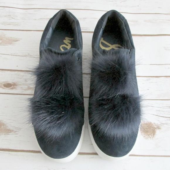 55368325788b9f Sam Edelman Navy Blue Suede Pom Pom Sneaker Leya